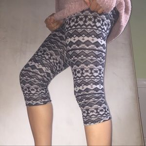 Cozy Grey Patterned Leggings